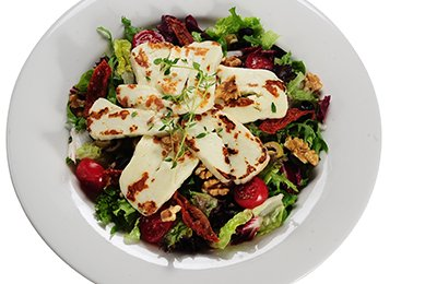 Green salad with Grilled Halloumi cheese