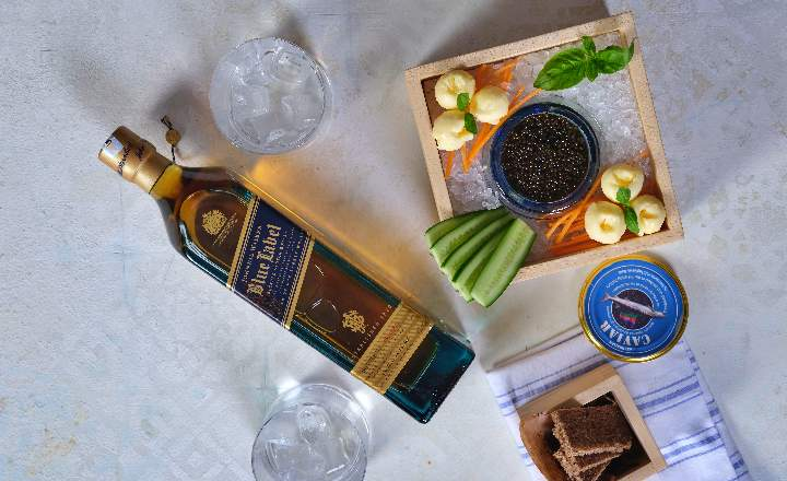 Beluga Black Caviar & Blue Label Bottle