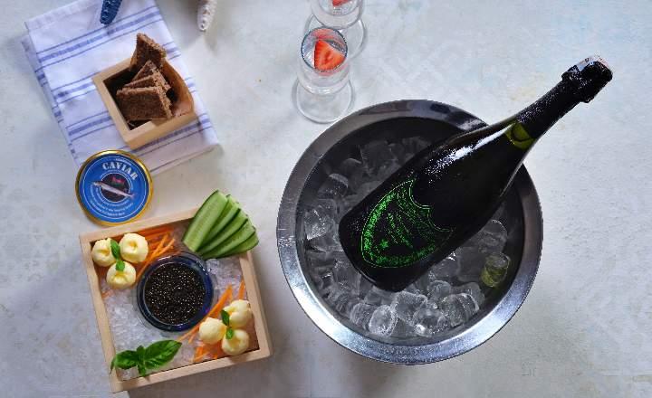 Beluga Black Caviar & Dom Perignon Bottle